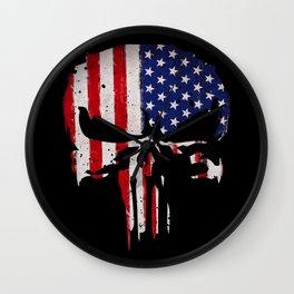 USA flag Skull Wall Clock