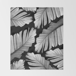 Tropical Gray White Banana Leaves Dream #1 #decor #art #society6 Throw Blanket