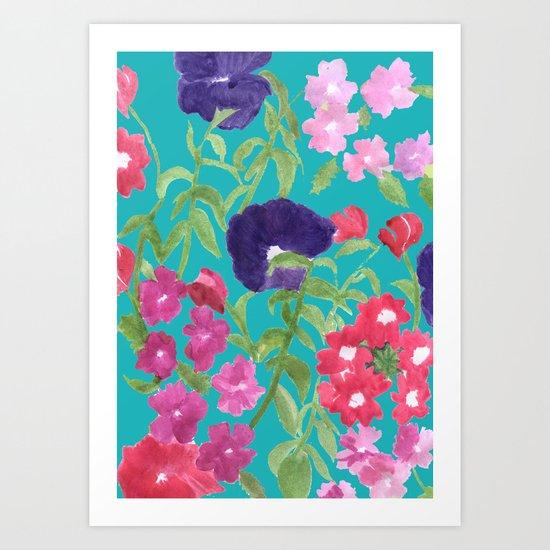 Blue Floral Print Art Print