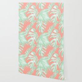 Island Love Coral Pink + Light Green Wallpaper