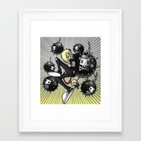 bombs away Framed Art Prints featuring Bombs away by corpse-boy