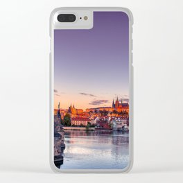 Scenic view on Vltava river and historical center of Prague. Clear iPhone Case