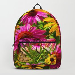 Coneflowers, Floral wall art, colorful flower blooms Backpack