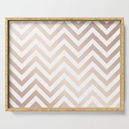Chevron rose gold and white Serving Tray