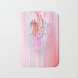 Abstract Cascade Glitch 2.Red and Pink Bath Mat