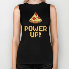 pizza power up Biker Tank