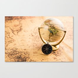 Vintage Map and Globe Canvas Print