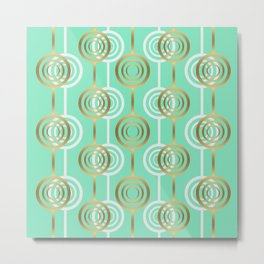 Gold and Mint Metal Print