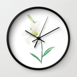 white lily watercolor Wall Clock