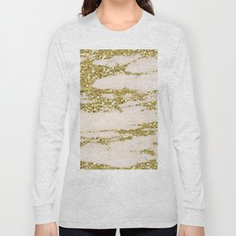 Marble - Gold Marble Glittery Light Pink and Yellow Gold Long Sleeve T-shirt