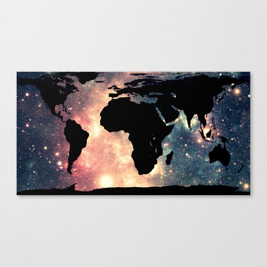 World Map Mauve & Teal Space Canvas Print