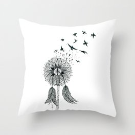 Dandelion, Let freedom flow with the wind of your dreams Throw Pillow