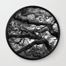 Live Oak Tree - black and white Wall Clock
