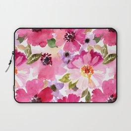 Watercolor Flowers Pink Fuchsia Laptop Sleeve