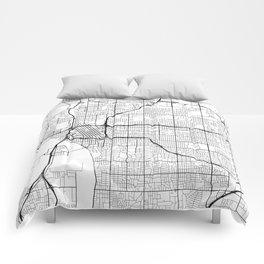 Tulsa Map, USA - Black and White Comforters