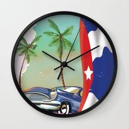 Santiago de cuba travel poster Wall Clock