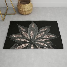 Gray Black Agave with Rose Gold Glitter #1 #shiny #tropical #decor #art #society6 Rug
