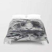 guinea pig Duvet Covers featuring Charcoal Guinea Pig by Miss emZ