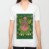 cthulhu V-neck T-shirts featuring Cthulhu by Squaredog