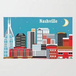 Nashville, Tennessee - Skyline Illustration by Loose Petals Rug