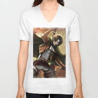 snk V-neck T-shirts featuring Levi Heichou by K.Koji