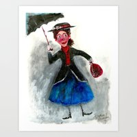 mary poppins Art Prints featuring Mary Poppins by Damian Alexander
