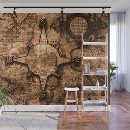 Antique World Map & Compass Rose Wall Mural