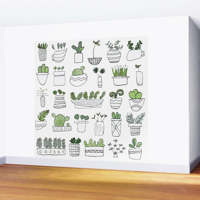 Spiky Succulents Wall Mural