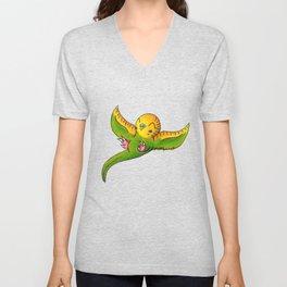 Little Green Parakeet Unisex V-Neck