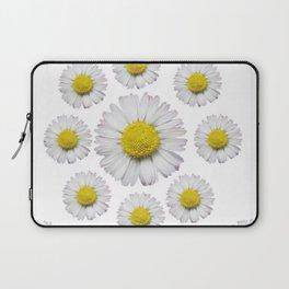 ALL WHITE SHASTA DAISY FLOWERS ART Laptop Sleeve