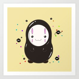 Spirited Away No Face Kawaii With Soot Sprites Art Print