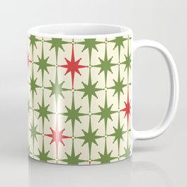 Christmas Starbursts - Atomic Age Xmas Holiday Pattern in Red and Retro Green on Cream Coffee Mug