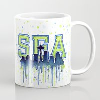 seahawks Mugs featuring Seattle 12th Man Art Watercolor Space Needle Painting  by Olechka