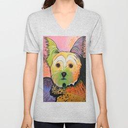 Daisy...Abstract animal pet portrait dog art, Yorkshire Terrier Unisex V-Neck