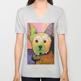 Daisy...Abstract animal pet portrait dog art, Yorkshire Terrier Unisex V-Neck