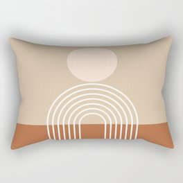 Geometric Lines in Terracotta and Beige 47 (Sun and Rainbow abstraction) Rectangular Pillow