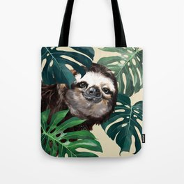 Sneaky Sloth with Monstera Tote Bag