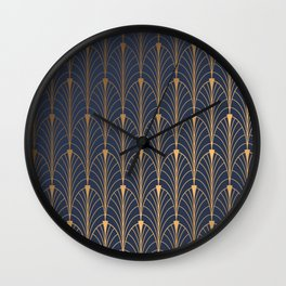 gold and blue Wall Clock