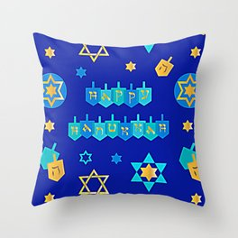 Happy Hanukkah Banner with Star of David Pattern Throw Pillow