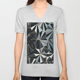 Stylish Art Deco Geometric Pattern - Black, blue, Gold #abstract #pattern Unisex V-Neck