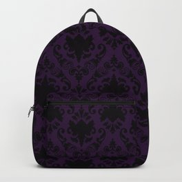 Aubergine and Black Damask Backpack