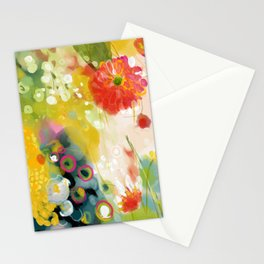abstract floral art in yellow green and rose magenta colors Stationery Cards