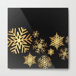 Modern Snowflakes in Gold Metal Print