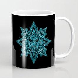 Ancient Blue and Black Aztec Sun Mask Coffee Mug