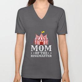 Momma of Ringmaster Acrobats Positivity Quote Tee Shirt Gift | Cute Carnivals Ringleader Saying Men Unisex V-Neck