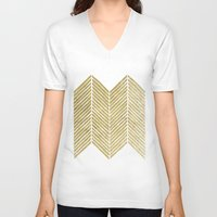 gold foil V-neck T-shirts featuring Gold Foil Chevron by Berty Bob