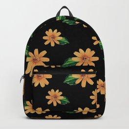 Yellow Flowers Black Pattern Backpack