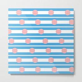 Geometric Stripe & Spot Cyan & Pink Metal Print