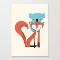 koala Canvas Prints featuring Fox & Koala by Jay Fleck