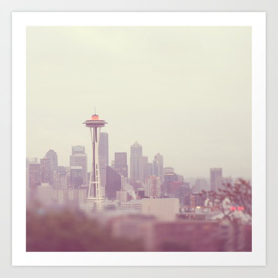 Thinking of you. Seattle skyline Space Needle photograph Art Print